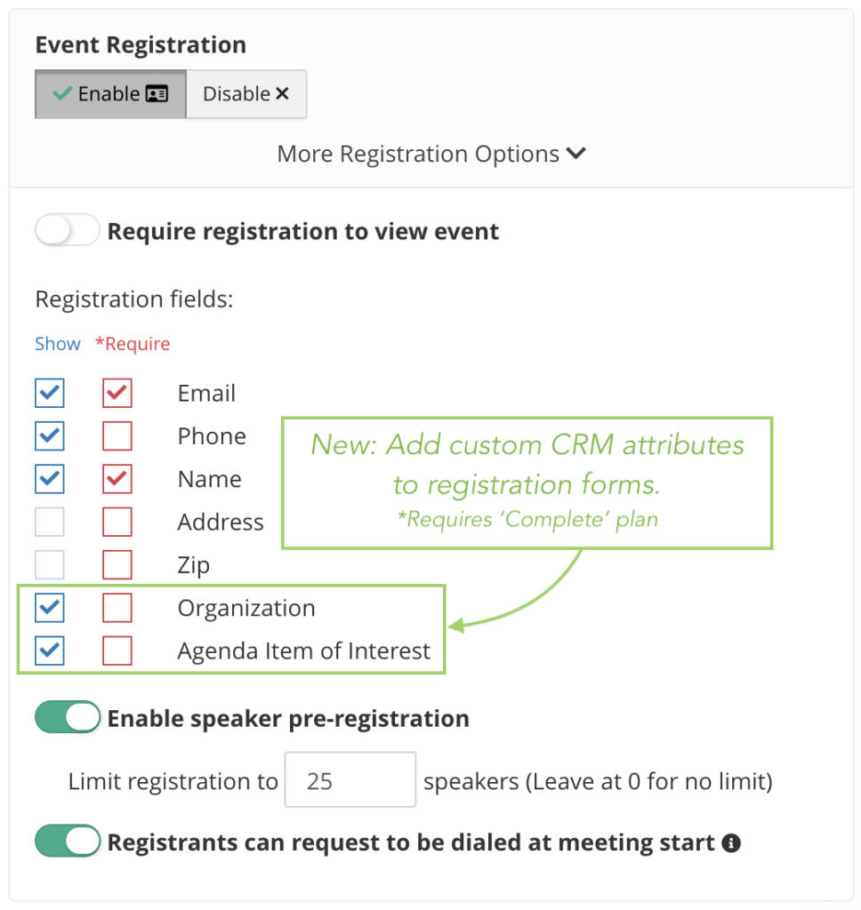 Toggle custom registration fields, including CRM custom attributes