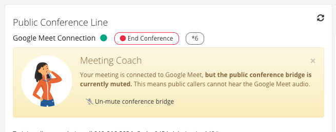 The conference bridge is muted - click here to un-mute it.